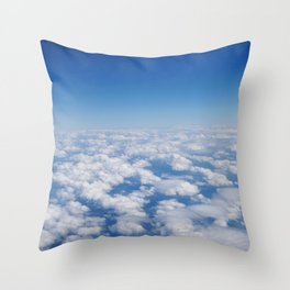Blue Sky White Clouds Color Photography Throw Pillow