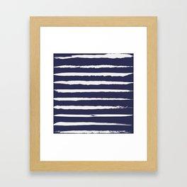 Irregular Hand Painted Stripes Dark Blue Framed Art Print