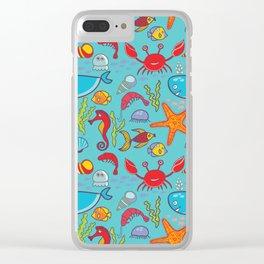 Cute Kids Ocean Sea Life Marine Pattern Clear iPhone Case
