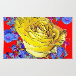 RED ART YELLOW ROSE BLUE MORNING GLORY FLOWERS Rug