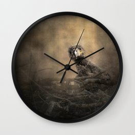 Lone Eaglet In The Nest Wall Clock