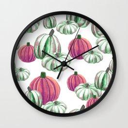 Watercolor Halloween Pumpkins - Pink & Green Wall Clock