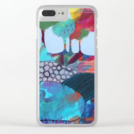 Day 6 In The Woods, Contemporary Abstract Landscape Clear iPhone Case