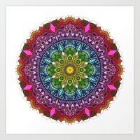 Rainbow mandala love by Sophie Nina Art Print