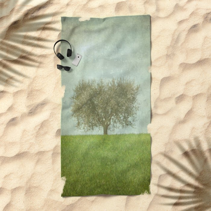 The Lone Olive Tree Beach Towel