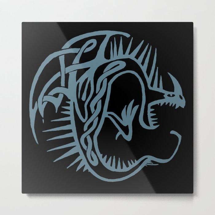 Celtic Knotwork Deadly Nadder (Blue) Metal Print
