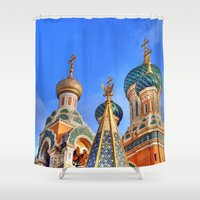 russia Shower Curtains featuring Basilica in Russia  by Limitless Design
