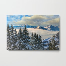 Sea of Fog atop the Swiss Alps Metal Print