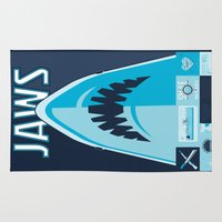 jaws Area & Throw Rugs featuring Jaws! by tim weakland