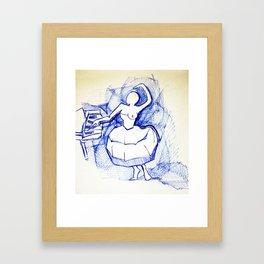 Ballerina in blue pen Framed Art Print