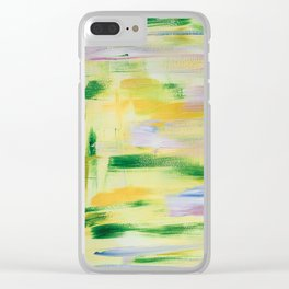 Blooming orchard: minimal, acrylic abstract painting in spring green and yellow / Variation Eight Clear iPhone Case