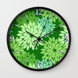 Modern Floral Kimono Print, Lime Green Wall Clock