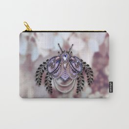 Ornate Purple Beaded Butterfly Carry-All Pouch