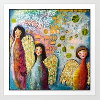 Three Angels by Jessica Sporn Designs Art Print