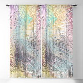 Jungle pampa colorful forest. Tropical fresh forest pattern with palms Sheer Curtain