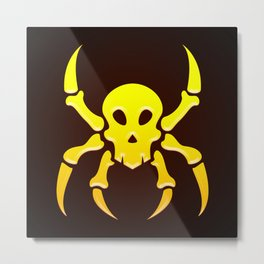 Spider Skull Illustration - Pirate, Hacker Metal Print