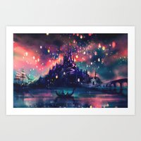 night sky Art Prints featuring The Lights by Alice X. Zhang