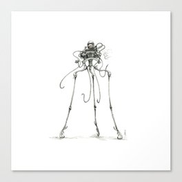 Martian Tripod Queen, Black and White Canvas Print