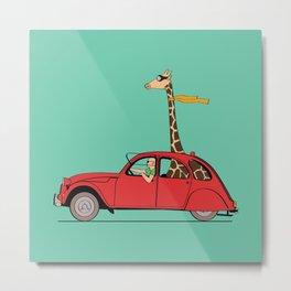 Giraffe 2CV on the wind Metal Print