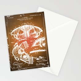 Football Shoulder Pads Patent Blueprint Drawing Sepia Stationery Cards