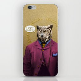 "Mr. Owl says: ""HOOT Happens!"" iPhone Skin"