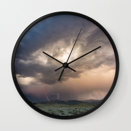 Yellowstone National Park - Sunset storm over the Washburn Range Wall Clock
