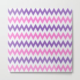 Artistic Love Chevron Pattern Inspired with 50s, 60s, 70s Design - Pink and Purple Metal Print