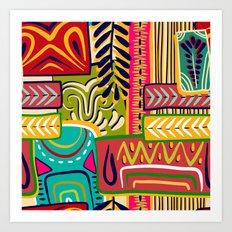 Geometric African Boho Pattern Art Print