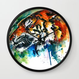 Orange Mad Tiger Watercolor Wall Clock