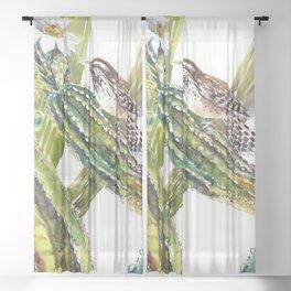 Arizona State Bird and Flower, Saguaro Cactus and Wren Sheer Curtain