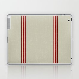 Red Stripes on Linen color background French Grainsack Distressed Country Farmhouse Laptop & iPad Skin