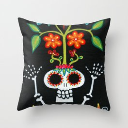 Happy Skelly with Tree Throw Pillow