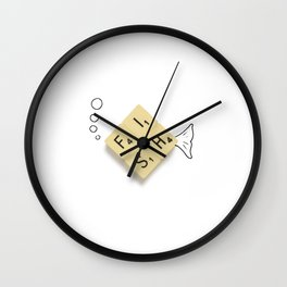 Fish Scrabble Wall Clock