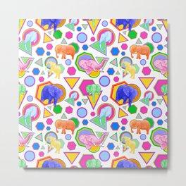 Cute Elephant Pattern - Bright Geometric Elephant Print Metal Print