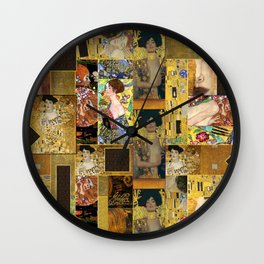 Klimt geometric collage Wall Clock