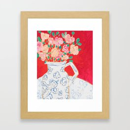 Delft Bird Pitcher on Red Background Framed Art Print