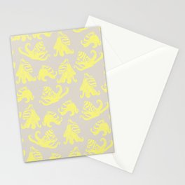 Yellow and Gray Larger Pacific Striped Octopuses Stationery Cards