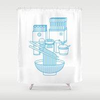 ramen Shower Curtains featuring Ramen Set by Design Made in Japan