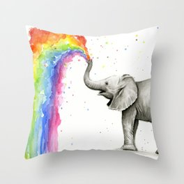 Baby Elephant Spraying Rainbow Throw Pillow