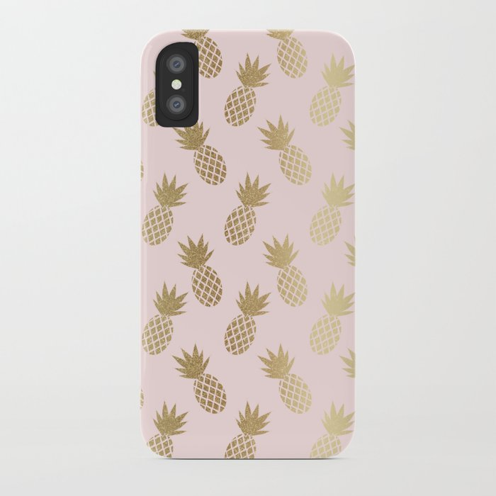 pink & gold pineapples iphone case