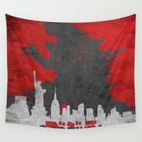 godzilla Wall Tapestries featuring Godzilla poster by WatercolorGirlArt