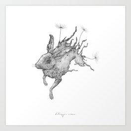 Hare Dandelion Art Print
