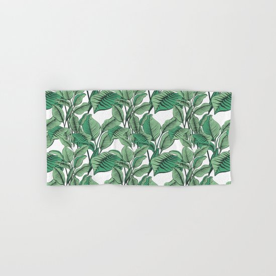 Exotic Tropical Banana Palm Leaf Print Hand & Bath Towel