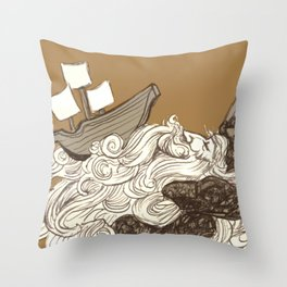 Ship on a Wave Throw Pillow