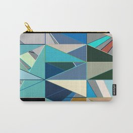 Mid-Century Modern Abstract, Turquoise and Neutrals Carry-All Pouch