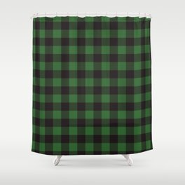 Buffalo Plaid Rustic Lumberjack Green And Black Check Pattern Shower Curtain