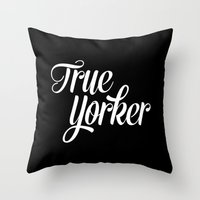 true blood Throw Pillows featuring True Yorker by Audio Visual Algebra