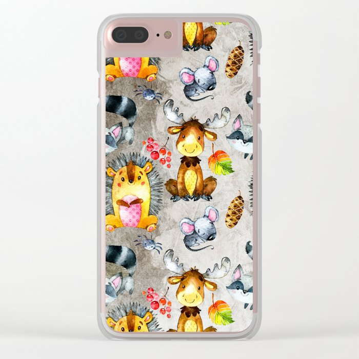 Woodland Animal Friends in forest -pattern for children Clear iPhone Case