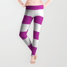 Byzantine -  solid color - white stripes pattern Leggings