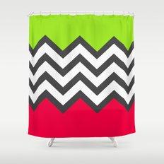 Color Blocked Chevron 5 Shower Curtain